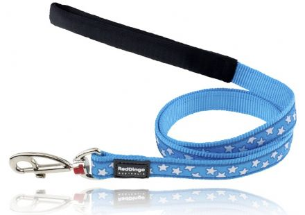Red Dingo Dog Lead turquoise blue and white stars